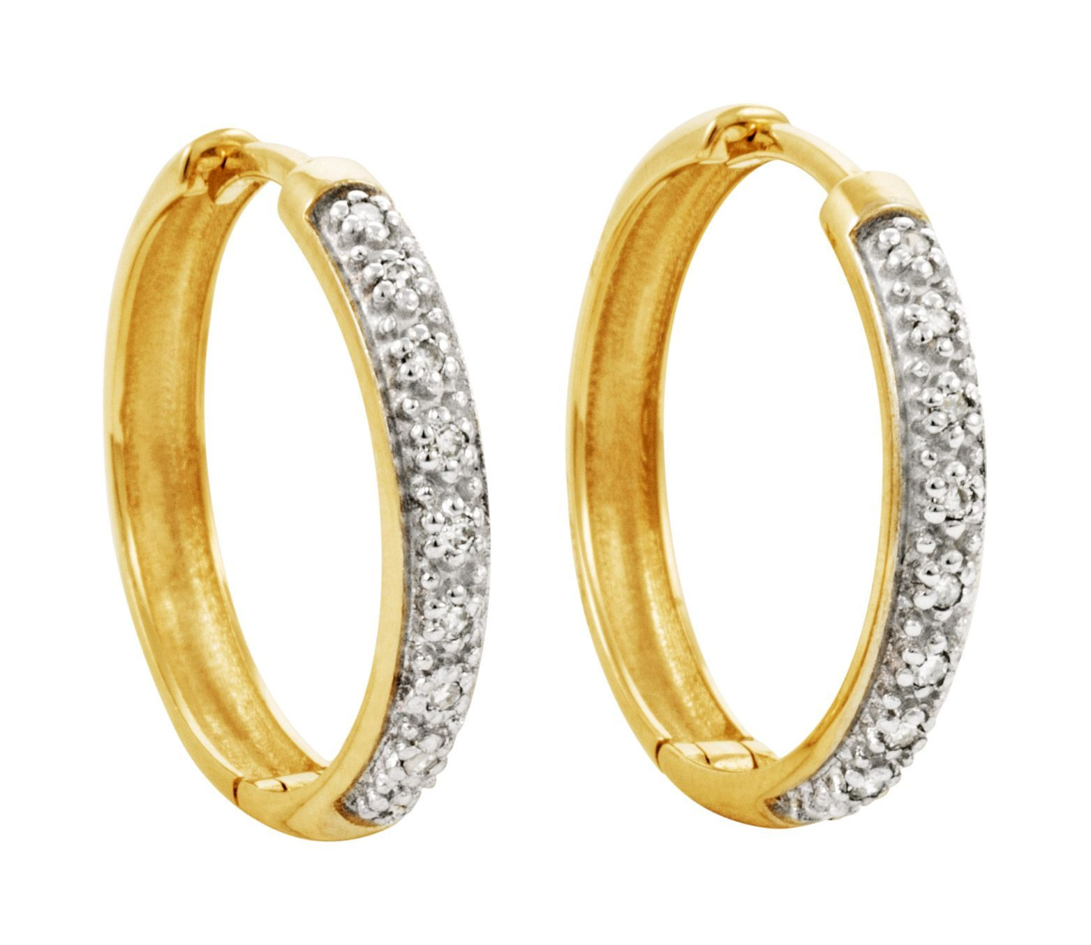 Brincos Safira   Brinco Argola Em Ouro 18k Com 9 Pontos de Diamante 12125d9f75