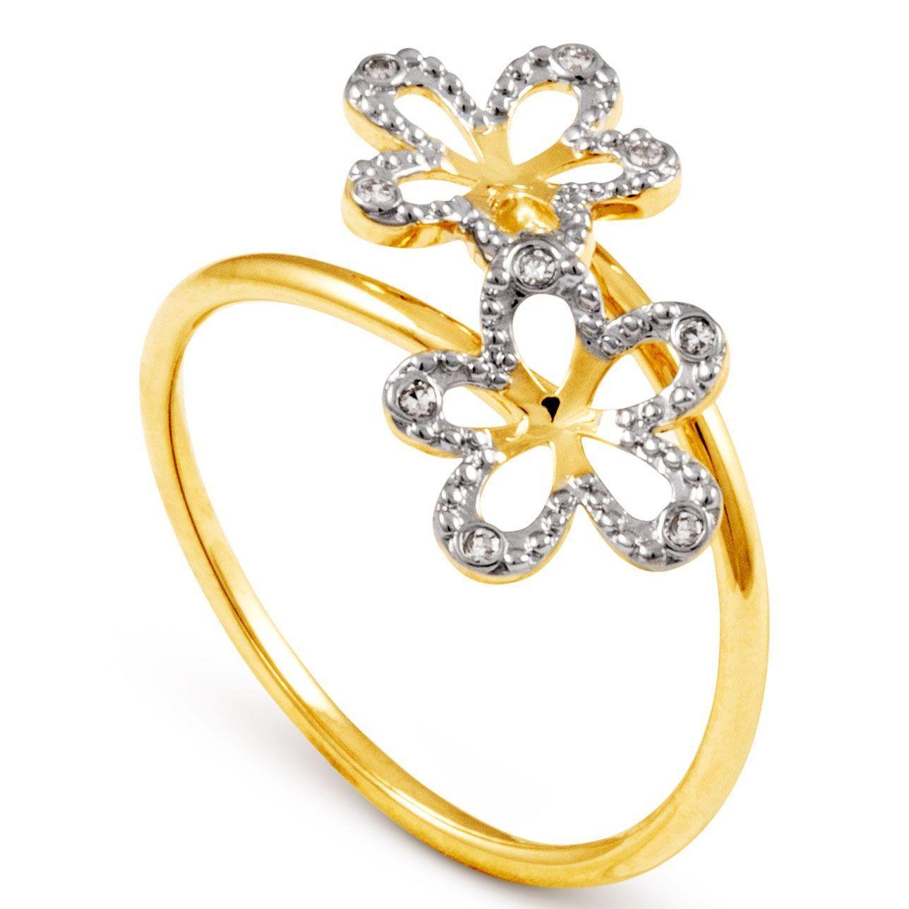 97b373dca90c8 Anel Flor Em Ouro Branco e Amarelo 18k Com 5 Pontos de Diamante