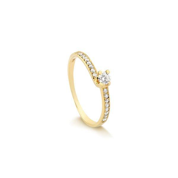 60d3b7038d95a Anel Solitário em Ouro 18k com 21 Pontos de Diamantes
