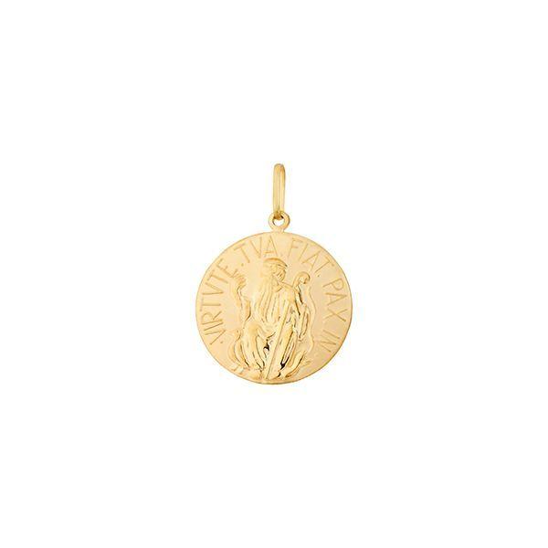 b1486738a0b3d Pingente Proteção Safira   Pingente Medalha de São Bento em Ouro 18k