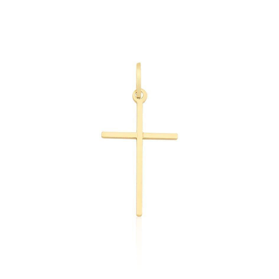 Pingente Proteção Safira   Pingente Cruz em Ouro 18k 7a880cf84f