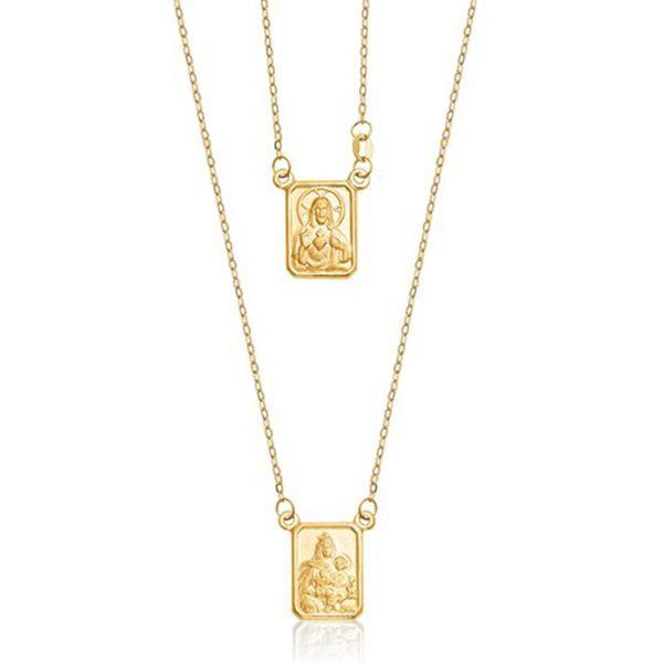 a55204b4e9f87 Safira   Escapulário em Ouro Amarelo 18k