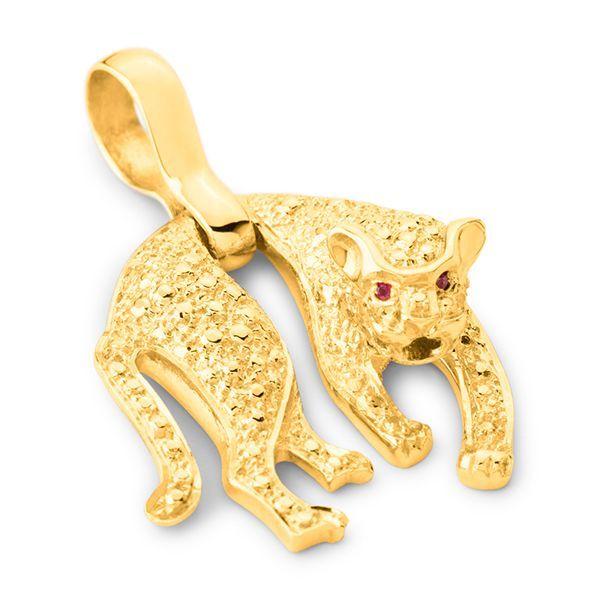 3d52bd5199107 Pingente Pantera em Ouro 18k com Pedra Rubi