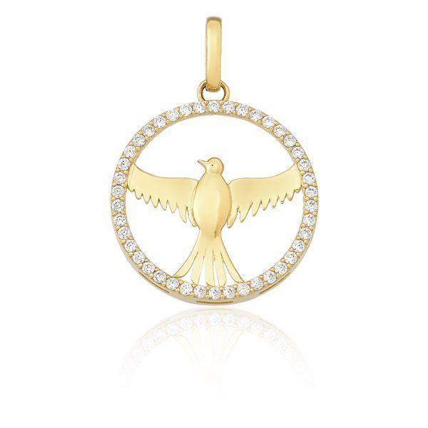 520c21e483230 Pingente Mandala Pombo da Paz em Ouro 18k