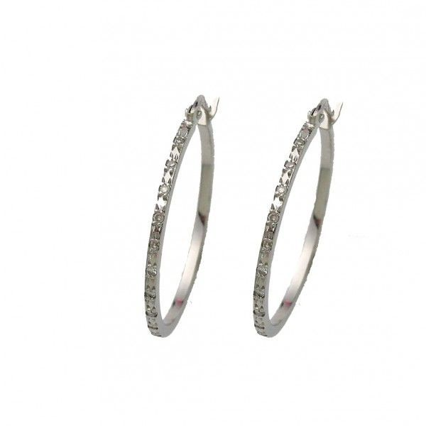 Brinco Safira   Brinco Argola Ouro Branco 18k com 27 Pontos de Diamante 50b725c4db