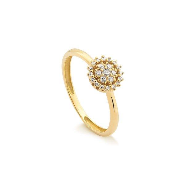 8123bb0887c Anéis Safira Anel Em Ouro 18k Com 24 Pontos de Diamante