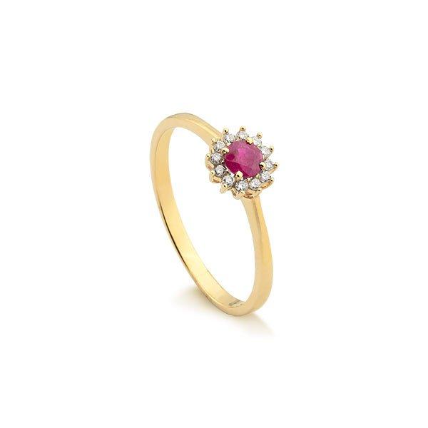 4e01dd59b50 Anel em Ouro 18k Com Diamante e Rubi
