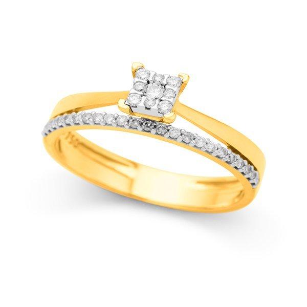 745099aa0 Casamento Safira | Anel de Ouro 18k Solitário Com 20 Pontos de Diamante