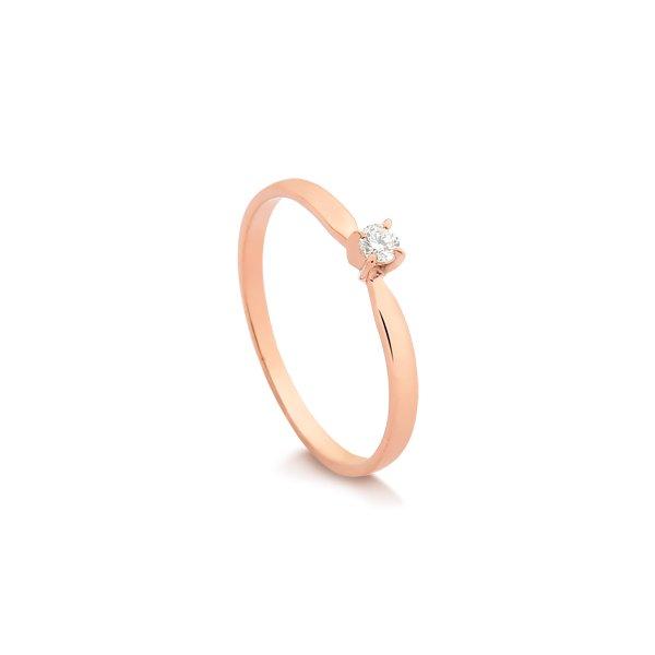 b83a7b2623bb29 Debutantes Safira | Anel Solitário em Ouro Rosé 18k Com 7 Pontos de ...