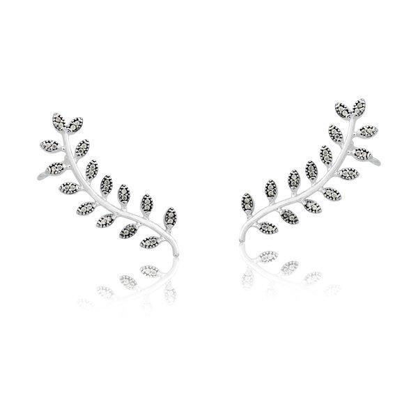 Brinco Coleção Memory   Brinco Ear Cuff Folhas em Prata com Zircônia 44c649081c