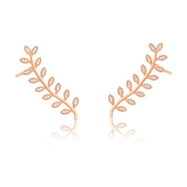 2b58722afefce Brinco Coleção · Memory · Brinco Ear Cuff Folhas em Prata Rosè com Zircônia