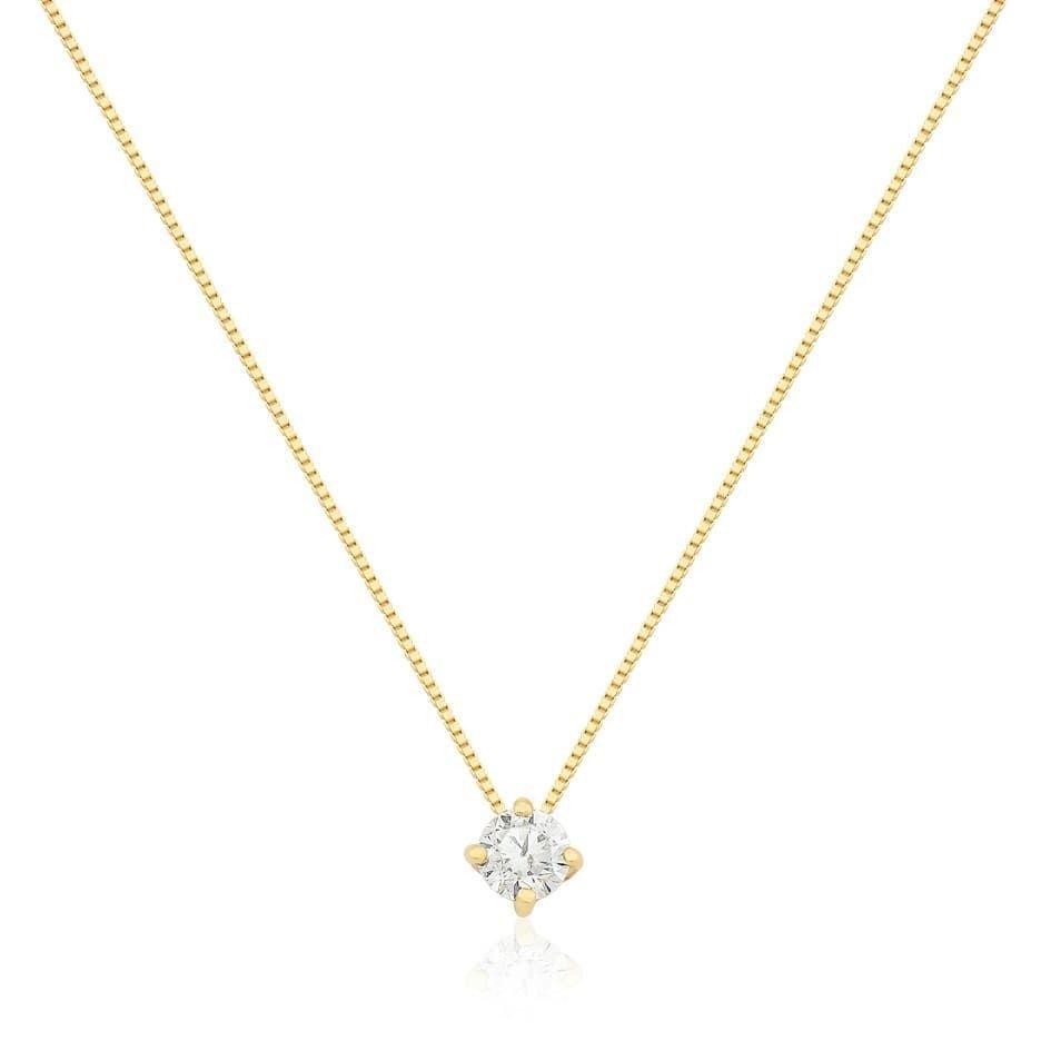 9b9d6b214fcf4 Gargantilha em Ouro 18k com 35 Pontos Diamante e Pingente Ponto de Luz
