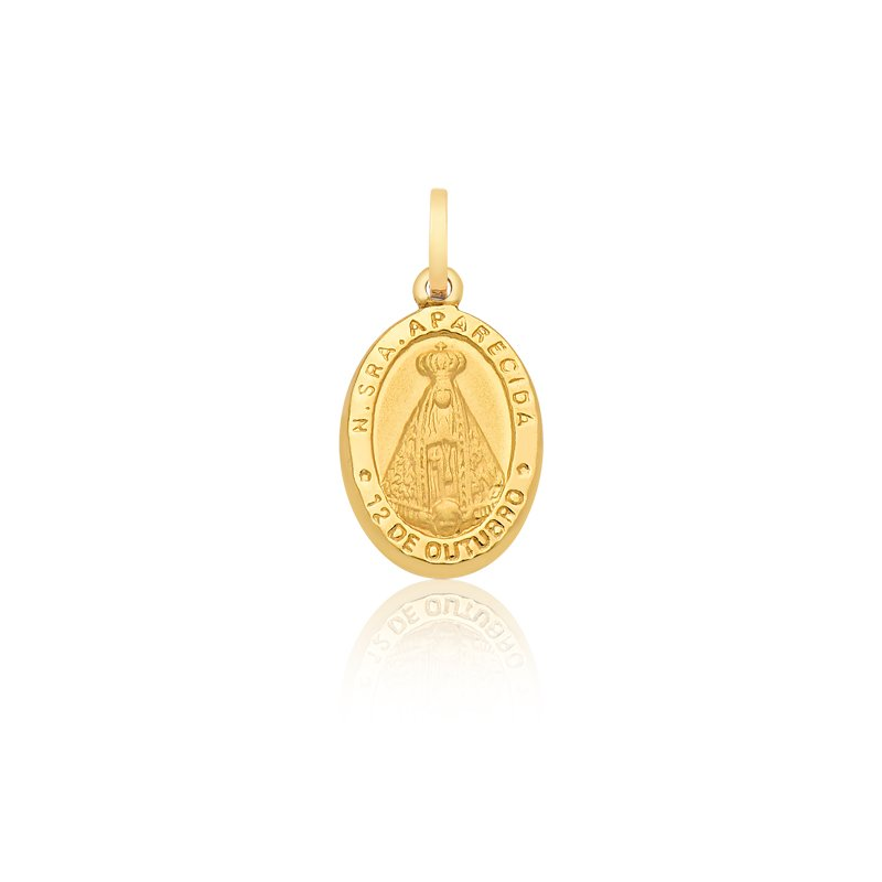 114924d0f722a Pingente Proteção · Safira · Medalha de Nossa Senhora Aparecida em Ouro 18k