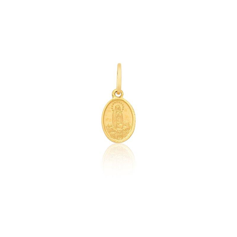 Pingente Proteção Safira   Medalha de Nossa Senhora de Fátima em ... f4850f4af6