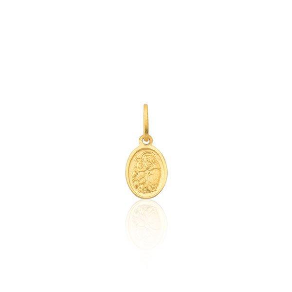 Pingente Proteção Safira   Pingente Medalha de Santo Antônio em Ouro 18k f4534ba99f