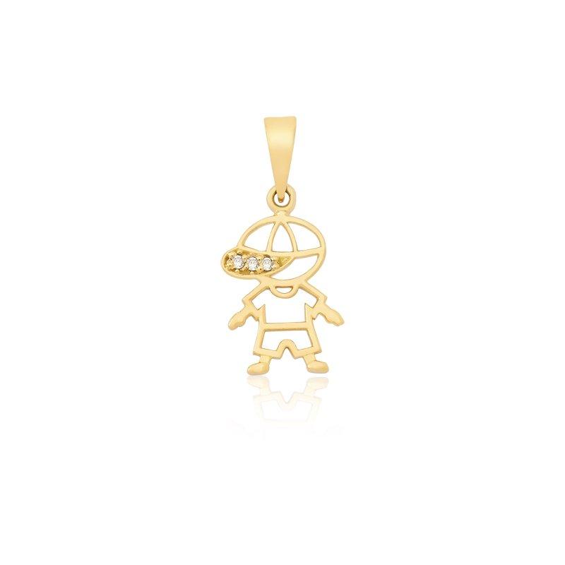 6feac27d215f3 Pingente Vazado Boneco em Ouro 18k com 3 Pontos de Diamante