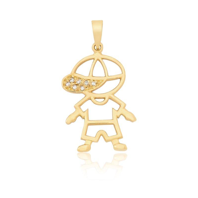 1538d029bf836 Pingente Vazado Boneco em Ouro 18k com 6 Pontos de Diamante