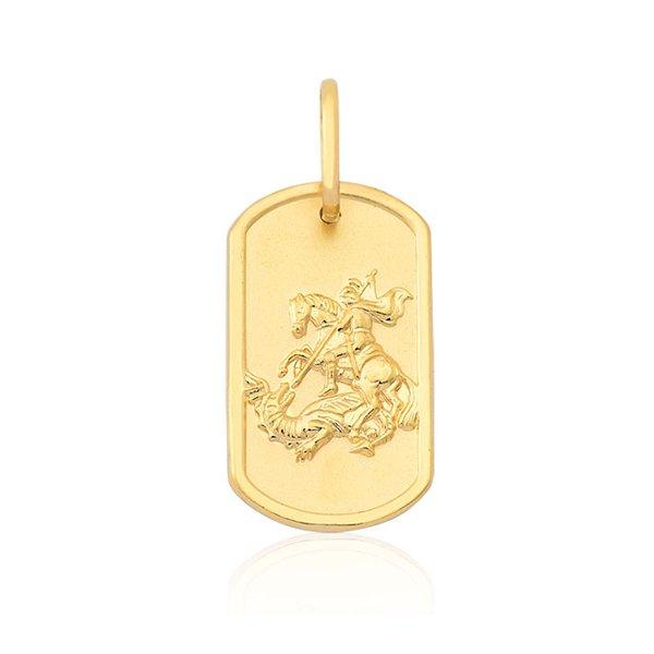 Pingente Proteção · Safira · Placa de São Jorge em Ouro 18k e16e73f857